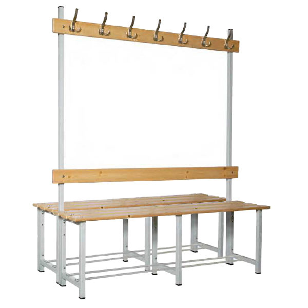 Banco doble de madera con perchero