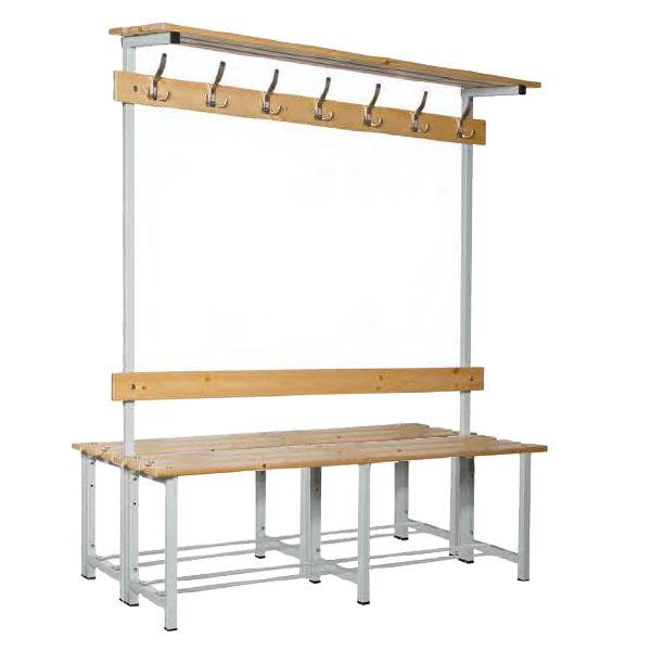 Banco doble de madera con perchero y repisa
